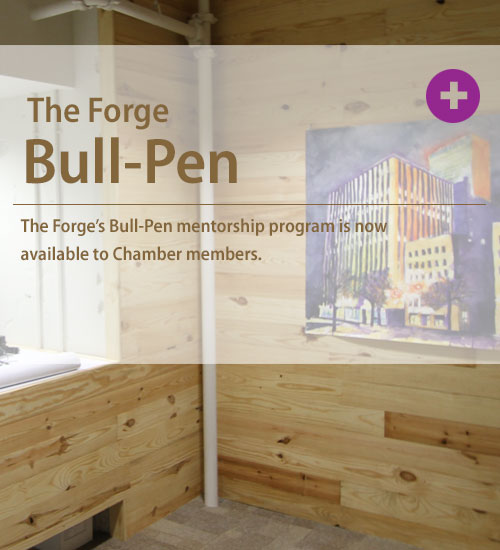 The Bull-Pen program provides entrepreneurs assistance from experts in a wide-range of categories, with a range of skill sets and professional services. It is open to owners of businesses less than five years old that are either Tulsa Regional Chamber members or tenants or coworkers of The Forge.